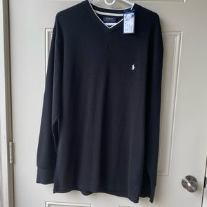 Men's black long sleeve casual Polo thermal